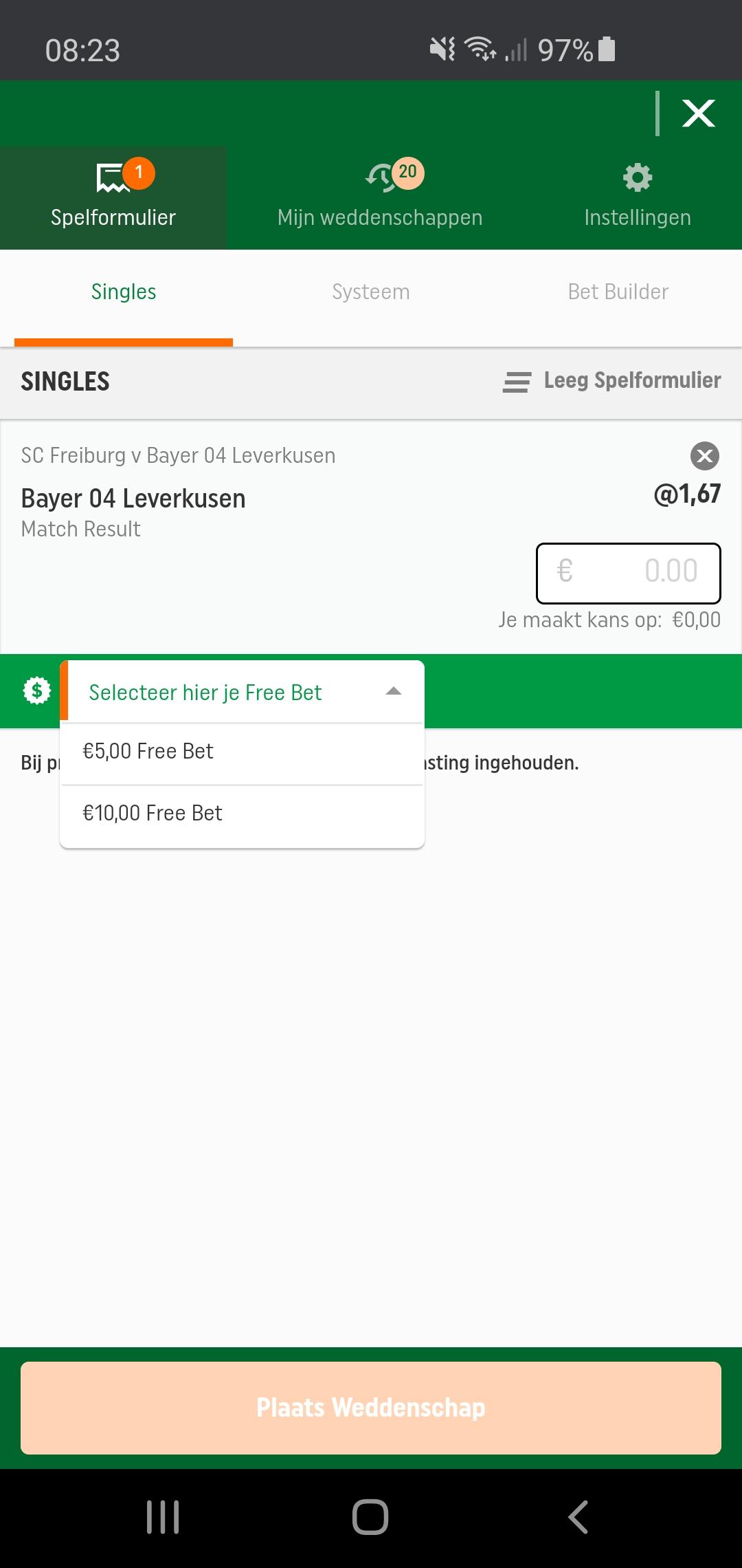 Free Bet voorbeeld 2 - TOTO